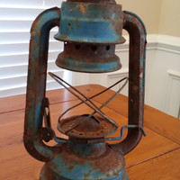Vintage Rusty Blue Lantern Frame for Rustic Cabin Industrial Decor Altered Art Supply