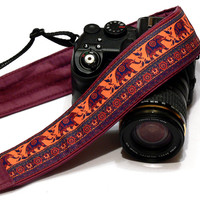 Lucky Elephants Camera Strap. Orange Purple Camera Strap.  DSLR Camera Strap. Canon, Nikon Camera Strap. Women Accessories