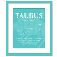 Taurus Personality Character Traits - Constellation Star Chart Astronomy Art Print - Typography Poster - 8x10 Wall Art Decor - Birthday Gift