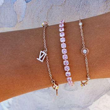 Roman Number Pink CZ Stack