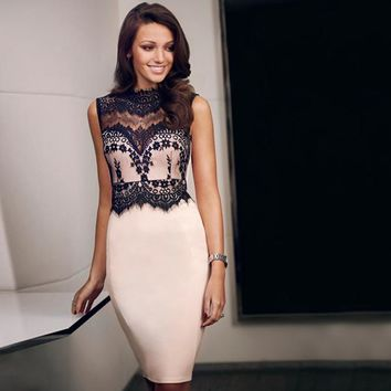 New Arrival High Neck Black Lace Top Slim Fitted Knee Length Cocktail Dresses Fashion Elegant Women Gown
