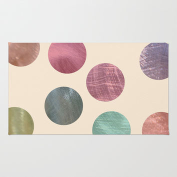 Decorative Multicolored Metallic Dots on Cream Area & Throw Rug by Perrin Le Feuvre