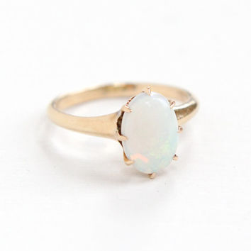 Antique 10K Rose Gold Opal Ring - Vintage Size 6 3/4 1920 1930 Art Deco Solitaire Fine Jewelry