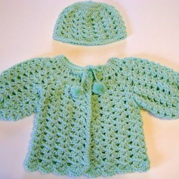 Handmade Baby Light Green Sweater and Hat Set by Rhody on Etsy