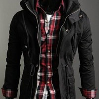 In Fashion Stand Collar Man's Cotton Jacket Black M/L/XL @S0-6357-1b $49.04 only in eFexcity.com.