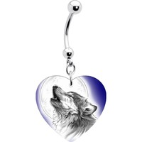 Heart Moon Howling Wolf Belly Ring
