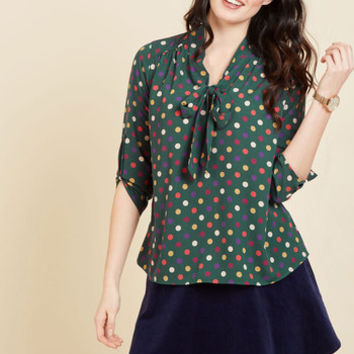 Careerist and Dearest Polka Dot Top in Green | Mod Retro Vintage Short Sleeve Shirts | ModCloth.com