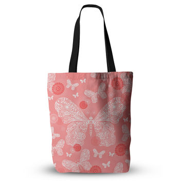 "Monika Strigel ""Butterfly Dreams Coral"" Pink White Everything Tote Bag"