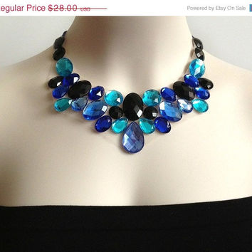 ON SALE blue bib necklace - royal blue, cobalt blue black and turquoise rhinestone statement necklace, bridesmaids, prom, wedding bib neckl