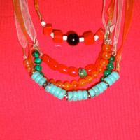 Red and Turquoise Semi Beaded Simple Long Ribbon Necklace for Women. Minimalist Jewelry for 10