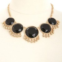 Round Stone Fringe Collar Necklace by Charlotte Russe - Black