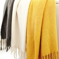Solid Faux Mohair Throw