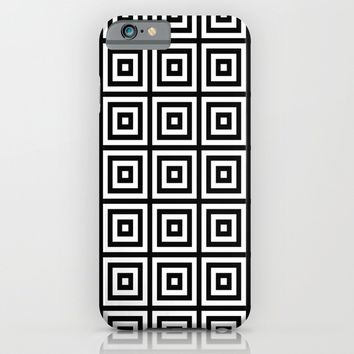 black and white squares pattern iPhone & iPod Case by Haroulita