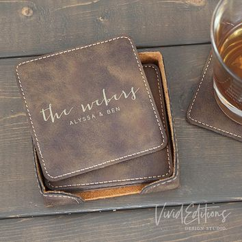 Square Personalized Leather Coaster Set of 6 - Rustic CB08
