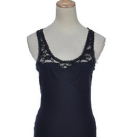 Anna-Kaci S/M Fit Midnight Black Lacey Lingerie Inspired Floral Back Tank Shirt