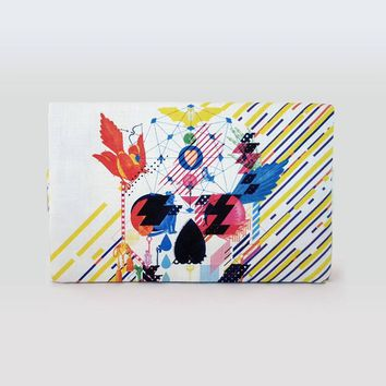 Abstract Skull FoldOver Clutch With Handle, Printed Handbag Skull Clutch With Abstract Design