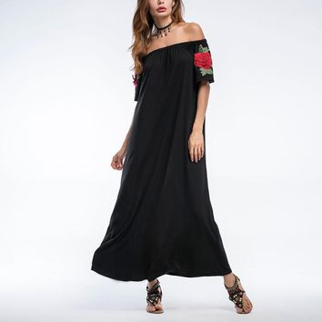 Sexy Off-the-Shoulder Maxi Dress with Rose Embroidery