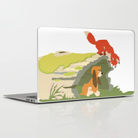 best friends forever.. a fox and a dog Laptop & iPad Skin by Studiomarshallarts