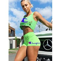 Champion New fashion letter print hole top and pants two piece suit Fluorescent Green