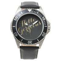 Fashion Hello Gorgeous Steel Black Leather Watch