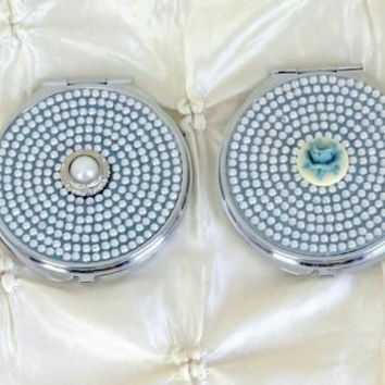 Rhinestone Compact Mirror In Your Choice of Style Bridesmaid Flower Girl Gift Wedding