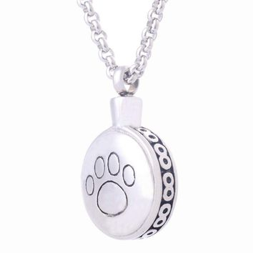 Stainless Steel Round Dog Paw Print Cremation Ash Urn Pendant And Necklace