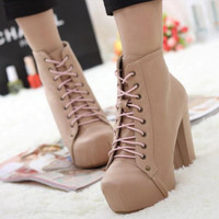 Korean Stylish Womens Solid Lace-up High Heels Ankle Boots Block Platforms 1mk