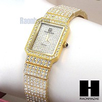 Luxury Iced Out 18K Gold Plated Bracelet Watch Lab Simulated Diamond Watch WW04