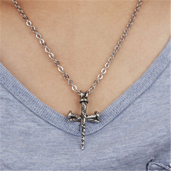 Womens Mens Old Silver Hademade Crucifix Cross Pendant Necklace Best Gift