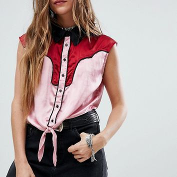 Sacred Hawk Western Sleeveless Shirt With Tie Front at asos.com