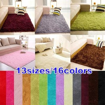 16 Colors Soft Fluffy Rugs Anti-Skid Shaggy Area Rug Dining Room Home Bedroom Carpet Floor Mat Fluffy Rugs for Home Living Rooms