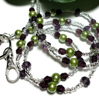 Lanyard Id Badge Beaded Necklace Purple Green Crystals and Pearls with Angel Strong Magnetic Breakaway Handmade Fashion Jewelry