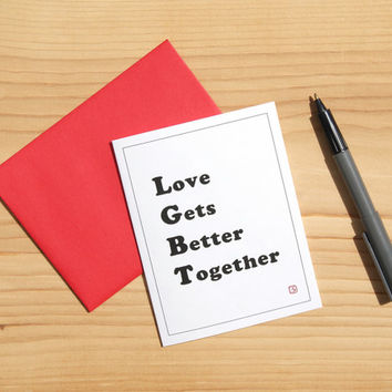 LGBT Card - Love Gets Better Together - Coming Out Card - Gay Lesbian Wedding Invitation - FREE SHIPPING
