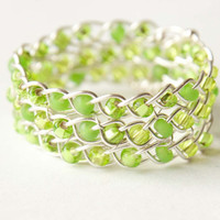 Peridot Lime Green and Silver Braided Ring, Gifts under 30, bridal, wedding