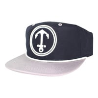 Upside Down Anchor Snapback Hat - YACHT PARTY - Navy / Gray