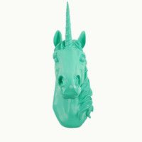 The Bayer in Turquoise - Magical Unicorn Head - White Faux Taxidermy - Unicorn Wall Mount Art - Unicorn Decorations - Kids Room Decor