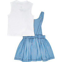 Mini girls blue dress white top outfit - outfits - mini girls - girls