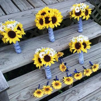 14 piece Silk Sunflower Bouquet Rustic Wedding Flower Set with Matching Boutonnieres & Corsages