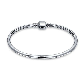 Starter Charm Bangle European Beads Bracelet Sterling Silver Clasp
