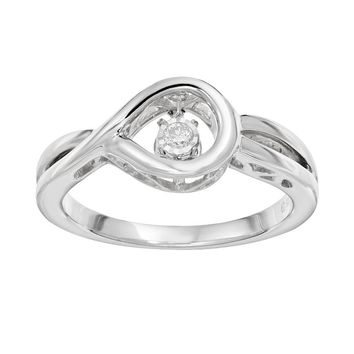 Brilliance in Motion Diamond Accent Sterling Silver Loop Ring (White)
