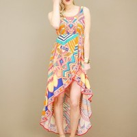 Vibrant inca print dress in pink with asymmetrical fishtail hem | shopcuffs.com