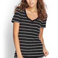 FOREVER 21 Stripe V-Neck Tee