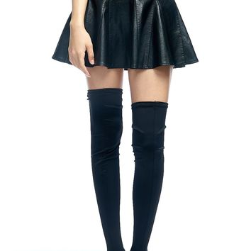 Faux Leather Skater Mini Skirt
