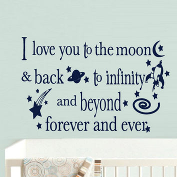 rvz902 Wall Vinyl Sticker Decals Decor Bedroom Words Sign Quote Nursery Kids Baby I Love Moon
