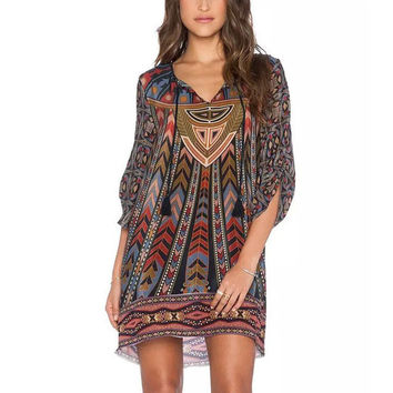 Baroque Colorful Geometric Print Tie Neck One Piece Half Sleeve Shift Dress Ethnic Vintage Gypsy Women Hippie Boho Street femme