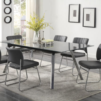 Homelegance HE-5595GY-87-7PC 7 pc Chromis rectangular metal grey glass dining table top
