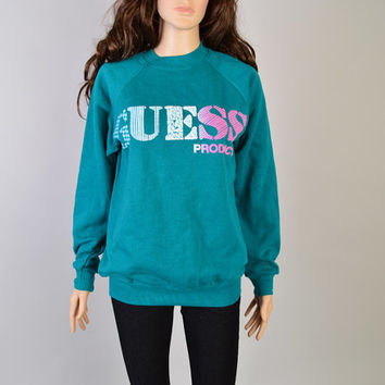 1980s Guess Sweatshirt / Vintage Sweater / Guess Products / Turquoise Green & Neon Pink / Size Medium