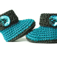Teal and Grey - Sparkle Aqua and Gray - Crochet Baby Booties - Baby Shoes - Baby Clothes - Baby Girl