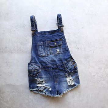 Distressed Denim Overall Short   Medium Wash