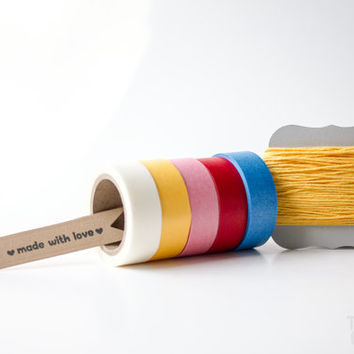 Solid Color Pack  - Washi Tape - Bakers Twine - Divine Twine - Solid Colors Adhesive Scrapbooking craft tape